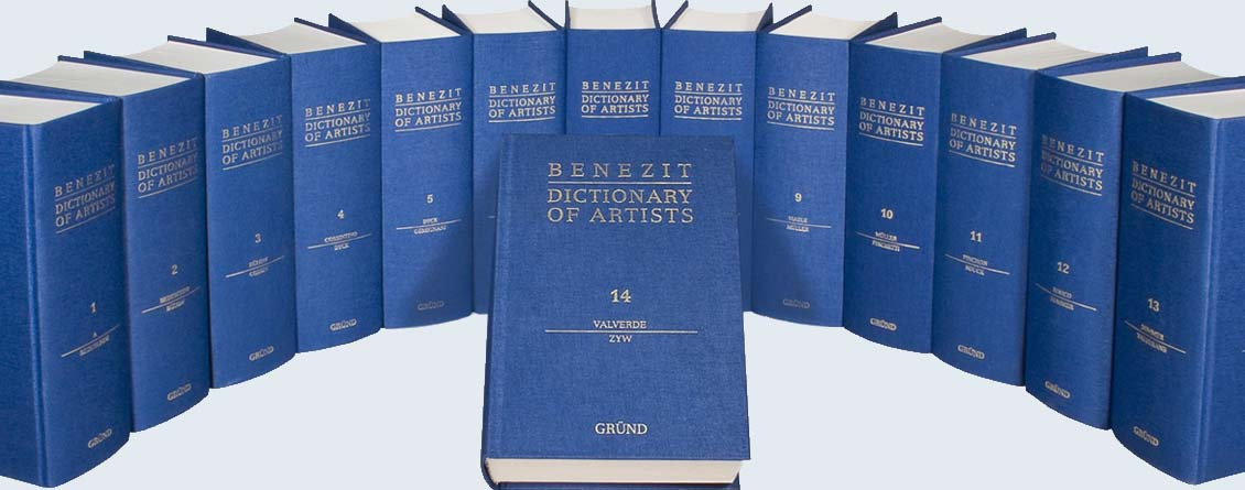 Complete collection of stacked Benezit Dictionary of Artists books