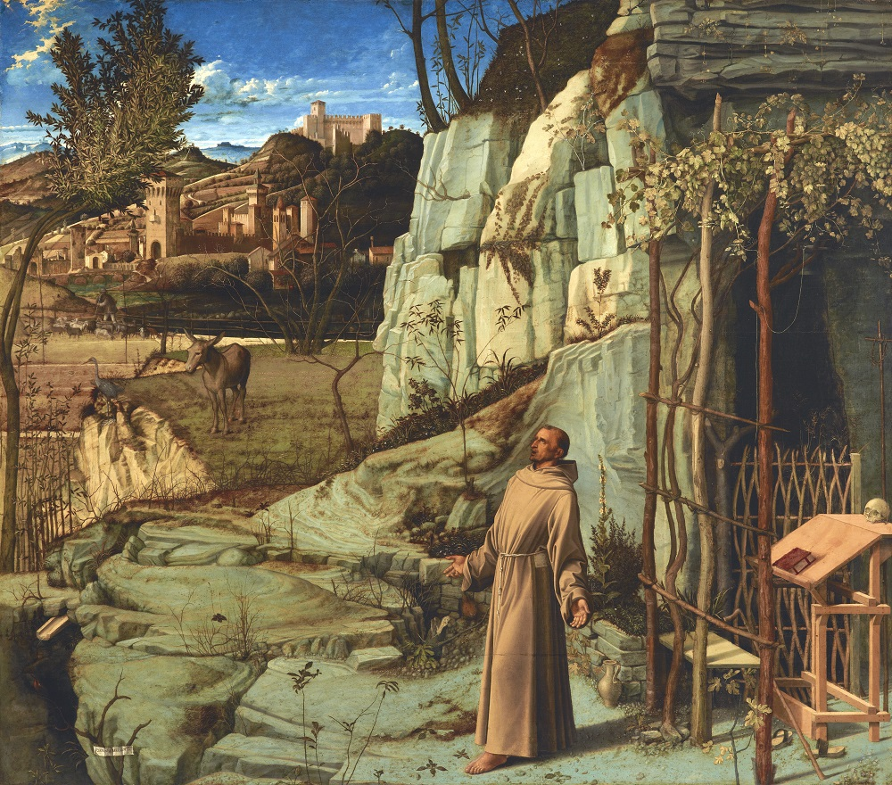 Giovanni Bellini: St. Francis in the Desert, oil on panel, 49 1/16 x 55 7/8 in. (124.6 x 142 cm), ca. 1476–78, (New York The Frick Collection, Henry Clay Frick Bequest, Accession ID: 1915.1.03)