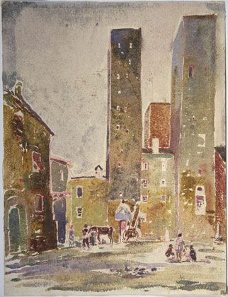 Louis I. Kahn: Towers of San Gimignano, watercolor and red pencil on paper, 308×235 mm, 1928 (Williamstown, MA, Williams College Museum of Art); photo credit: Williams College Museum of Art, Williamstown, MA, courtesy of The Museum of Modern Art, New York