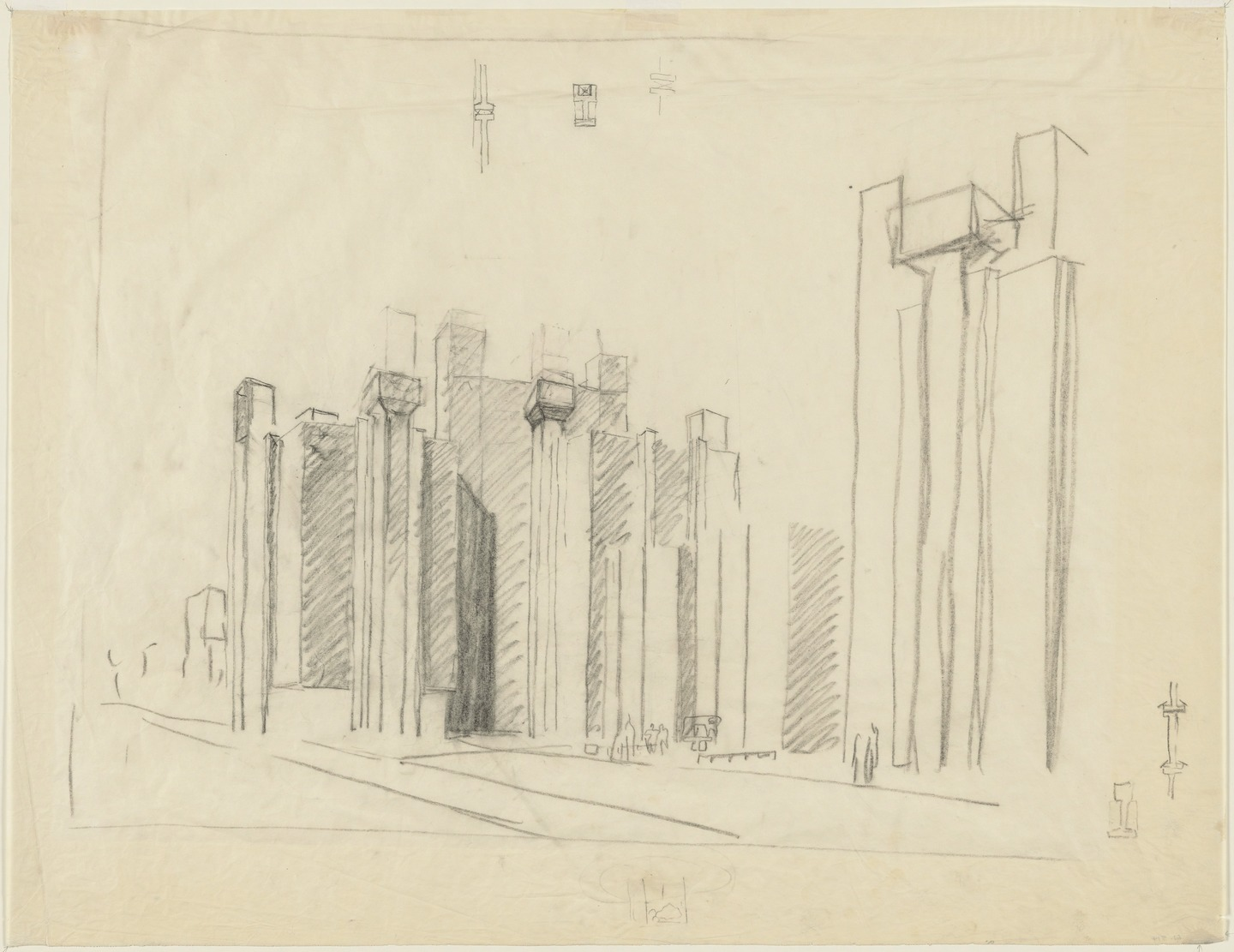 Architectural drawing by Louis I. Kahn: Alfred Newton Richards Medical Research Building and Biology Building, University of Pennsylvania, Philadelphia, PA, Preliminary Version: Perspective, charcoal on tracing paper, 606×787 mm, 1957 (New York, Museum of Modern Art); courtesy of The Museum of Modern Art, New York