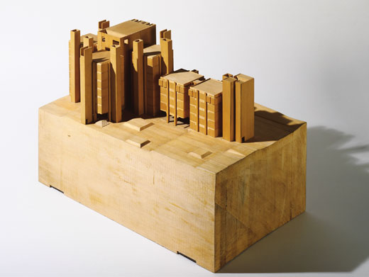 Architectural model by Louis I. Kahn: Alfred Newton Richards Medical Research Building, University of Pennsylvania, Philadelphia, PA, overall building complex, final version, basswood, 343×578×375 mm, 1957–65 (New York, Museum of Modern Art); courtesy of The Museum of Modern Art, New York