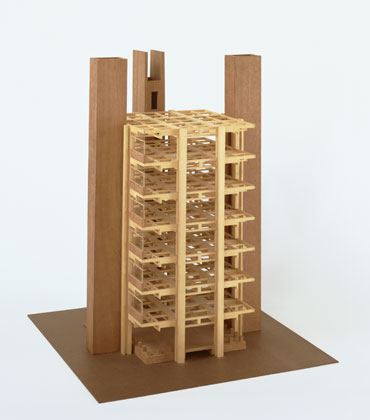 Architectural model by Louis I. Kahn: Alfred Newton Richards Medical Research Building, University of Pennsylvania, Philadelphia, PA, structure of typical laboratory tower, final version, wood, 724×608×608 mm, 1957–65 (New York, Museum of Modern Art); courtesy of The Museum of Modern Art, New York