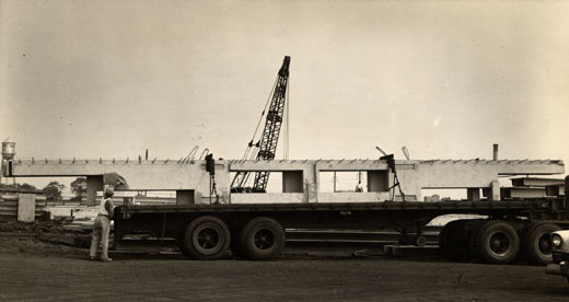 Pre-cast concrete beam during transport, fabricated for Louis I. Kahn: Alfred Newton Richards Medical Research Laboratories, University of Pennsylvania, Philadelphia, PA, 1957–61 (Philadelphia, PA, University of Pennsylvania and the Pennsylvania Historical and Museum Commission, Louis I. Kahn Collection, photograph Ronald C. Binks); photo credit: University of Pennsylvania and the Pennsylvania Historical and Museum Commission, Philadelphia, PA, courtesy of The Museum of Modern Art, New York