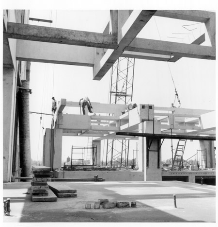 Construction photo of Louis I. Kahn: Alfred Newton Richards Medical Research Laboratories, University of Pennsylvania, Philadelphia, PA, 1957–61 (Philadelphia, PA, University of Pennsylvania, Architectural Archives, photograph Marshall D. Meyers); photo credit: University of Pennsylvania, Architectural Archives, Philadelphia, PA, courtesy of The Museum of Modern Art, New York