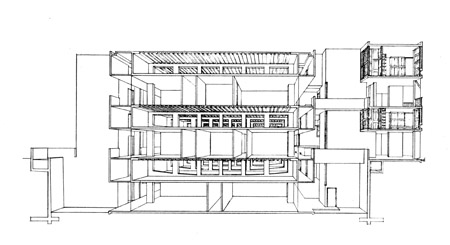 Louis I. Kahn: cross-section perspective of laboratory, Salk Institute for Biological Studies, La Jolla, CA, 1959–65 (Philadelphia, PA, University of Pennsylvania, Architectural Archives, August Komendant Collection); photo credit: University of Pennsylvania, Architectural Archives, Philadelphia, PA, courtesy of The Museum of Modern Art, New York