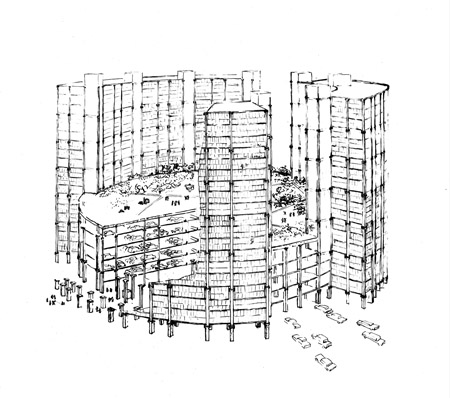 Cut-away perspective of parking tower, Civic Center, Philadelphia, PA, by Louis I. Kahn, project, ink on tracing paper, 279×356 mm, 1952 (Philadelphia, PA, University of Pennsylvania, Architectural Archives); photo credit: University of Pennsylvania, Architectural Archives, Philadelphia, PA, courtesy of The Museum of Modern Art, New York