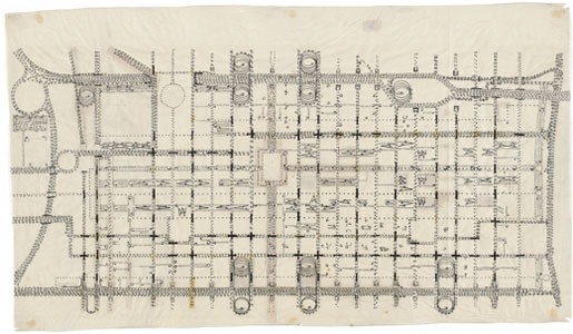 Traffic study for Philadelphia, PA, by Louis I Kahn, urban project plan of proposed traffic-movement pattern, ink, graphite and cut-and-pasted papers on paper, 622×1086 mm, 1952 (New York, Museum of Modern Art); courtesy of The Museum of Modern Art, New York