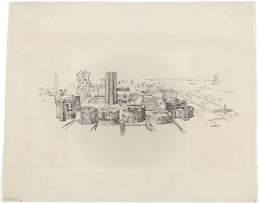 Aerial perspective of Civic Center, Philadelphia, PA, by Louis I. Kahn, project, ink on tracing paper, 279×356 mm, 1952 (New York, Museum of Modern Art); courtesy of The Museum of Modern Art, New York