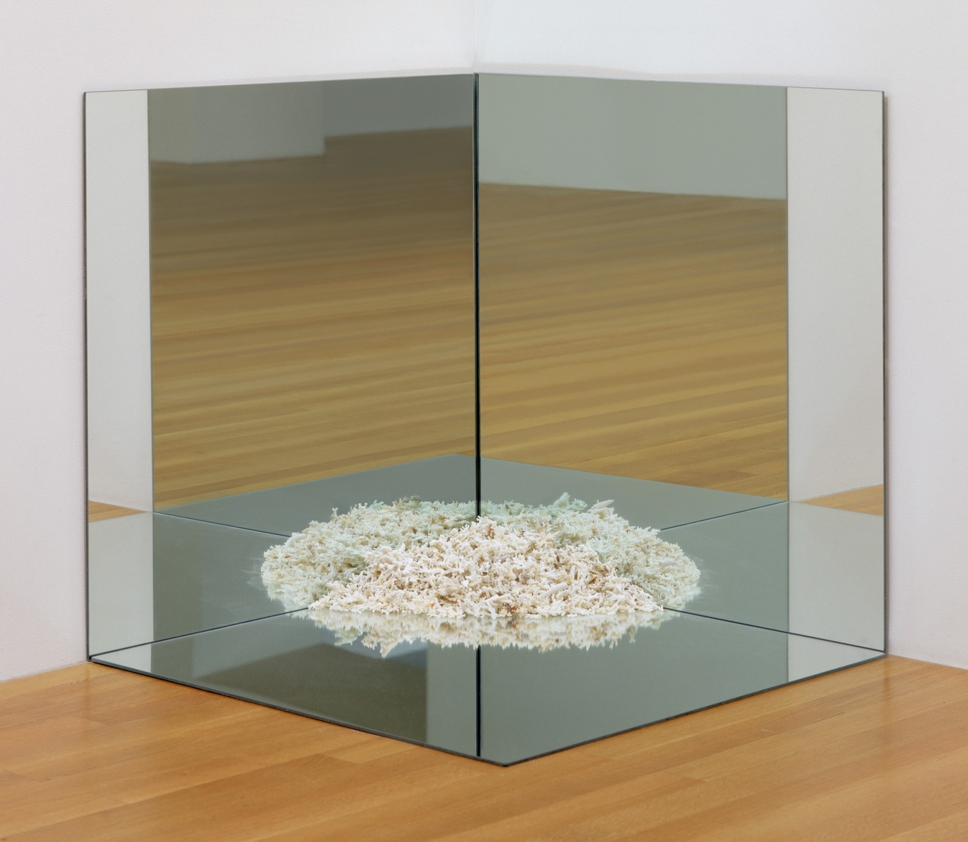 Robert Smithson: Corner Mirror with Coral, mirrors and coral, 915×915×915 mm, 1969 (New York, Museum of Modern Art); © 2007 Estate of Robert Smithson/Licenses by VAGA, New York, NY, courtesy of The Museum of Modern Art, New York