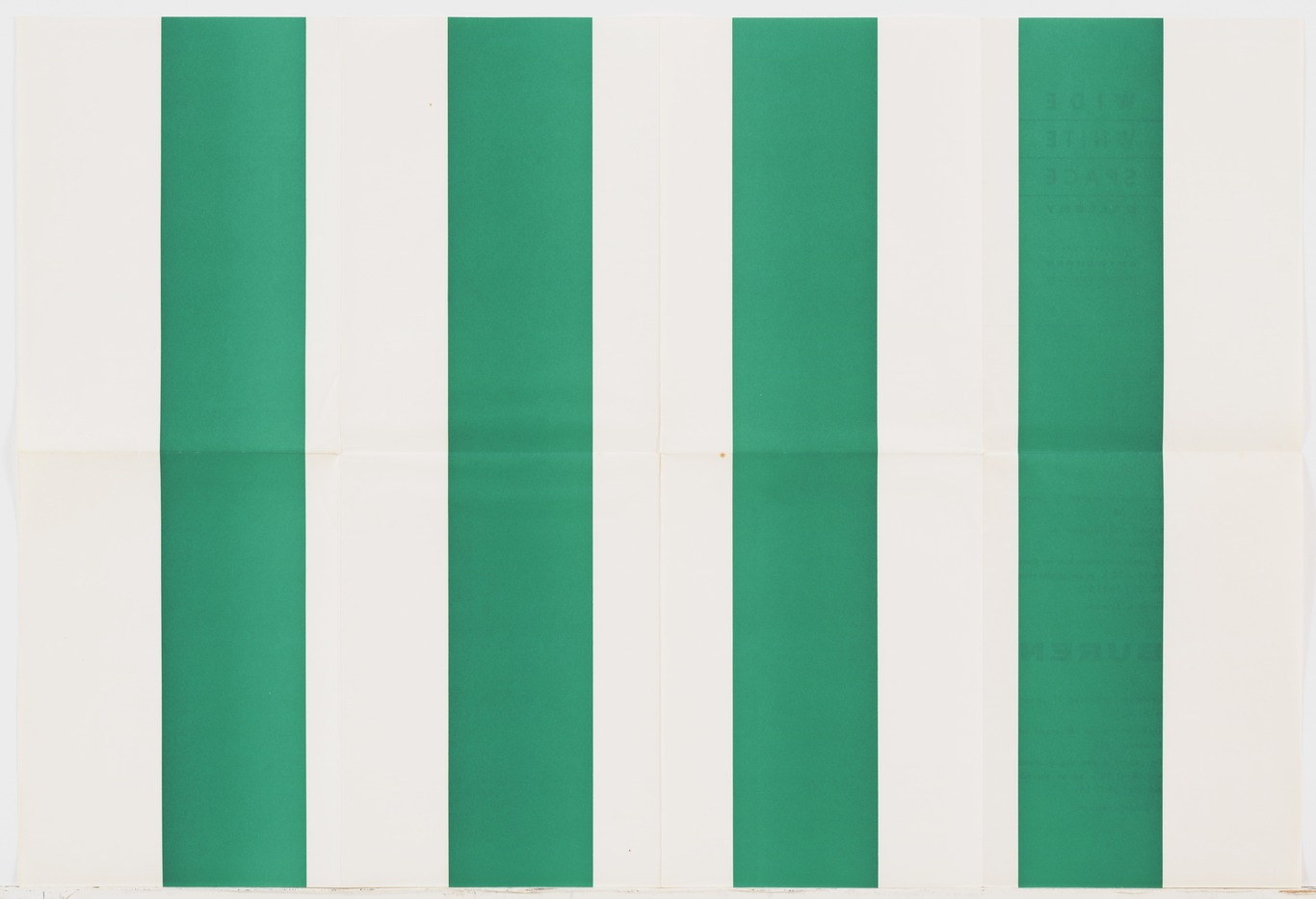 Daniel Buren: Untitled (Wide White Space Gallery Announcements), screenprint , folded double-sided lithographs, five sheets various dimensions, 1969–74; from an illustrated book of thirty mounted color photographs and thirty screenprints, D'une Impression L'Autre, page 350×520 mm, 1983; installation executed 1968–82; published by the artist and Éditions Média, Neuchâtel, Switzerland, edition of 95 (New York, Museum of Modern Art); © 2007 Daniel Buren/Artists Rights Society (ARS), New York/ADAGP, Paris, courtesy of The Museum of Modern Art, New York