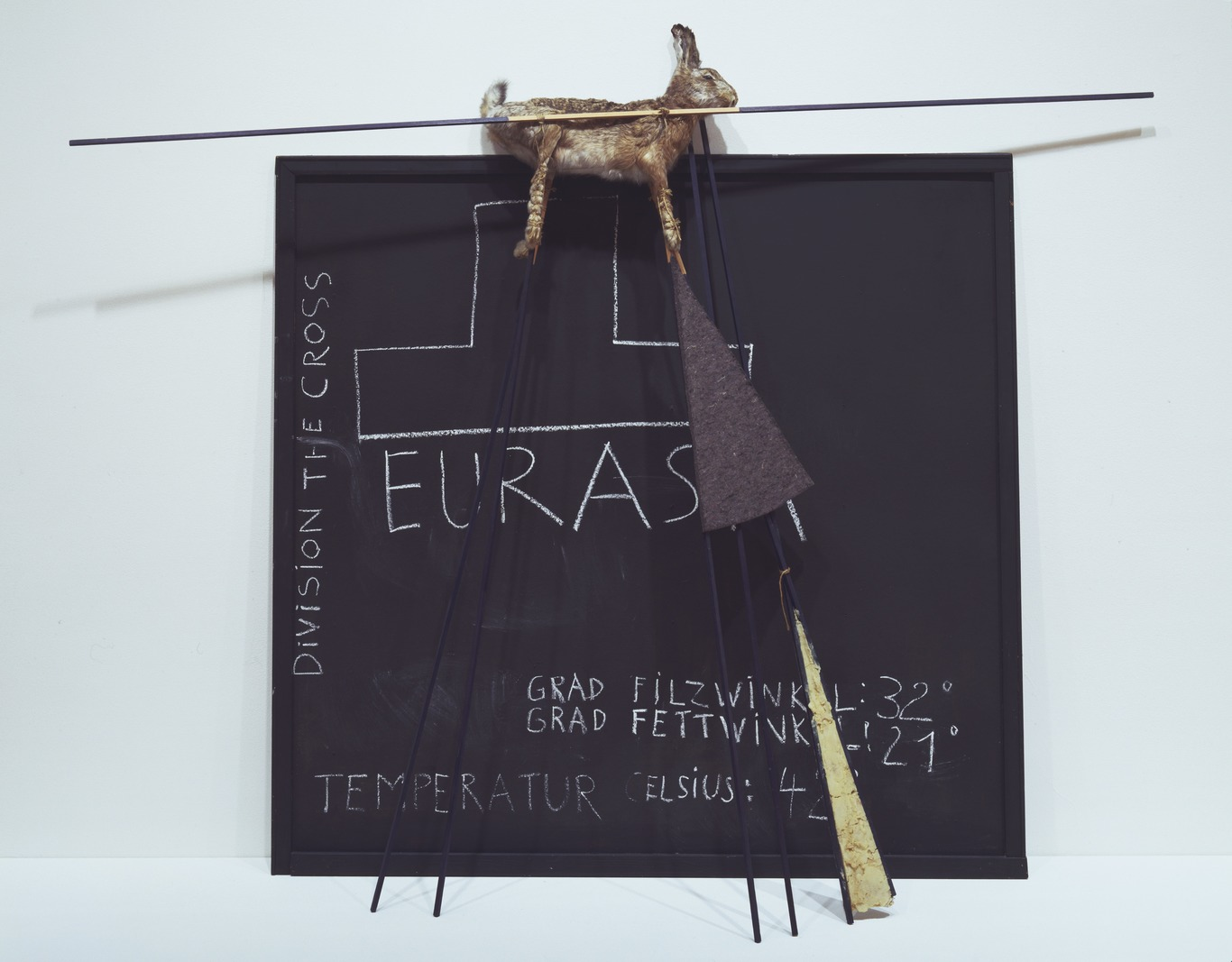 Joseph Beuys: Eurasia Siberian Symphony, 1963, panel with chalk drawing, felt, fat, hare and blue-painted poles, 1.83×2.30×0.50 m, 1966 (New York, Museum of Modern Art); © 2007 Artists Rights Society (ARS), New York/VG Bild-Kunst, Bonn, courtesy of The Museum of Modern Art, New York