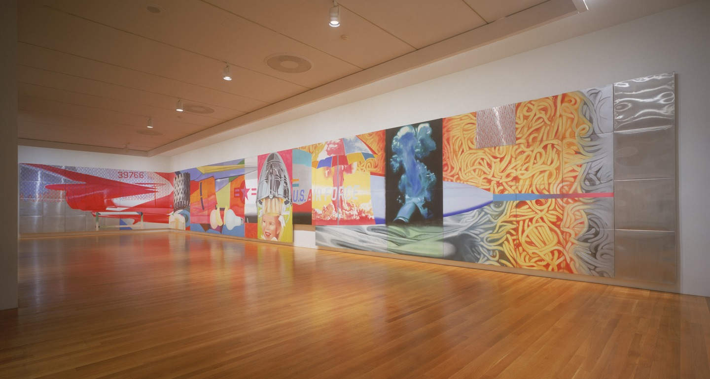 James Rosenquist: F-111, oil on canvas with aluminum, twenty-three sections, 3.05×26.21 m, 1964–5 (New York, Museum of Modern Art); courtesy of The Museum of Modern Art, New York