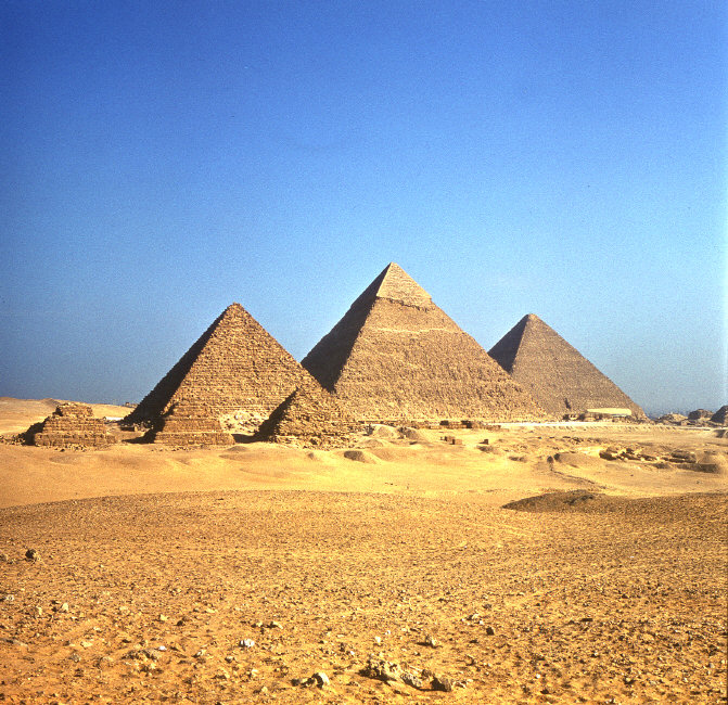 Pyramids at Giza, 4th Dynasty, c. 2575–c. 2465 BC; photo credit: E. Strouhal/Werner Forman/Art Resource, NY