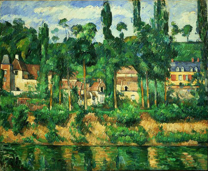 Post-Impressionist painting by Paul Cézanne: Zola's House at Médan, oil on canvas, 590×725 mm, c. 1880 (Glasgow, Burrell Collection); photo credit: Erich Lessing/Art Resource, NY