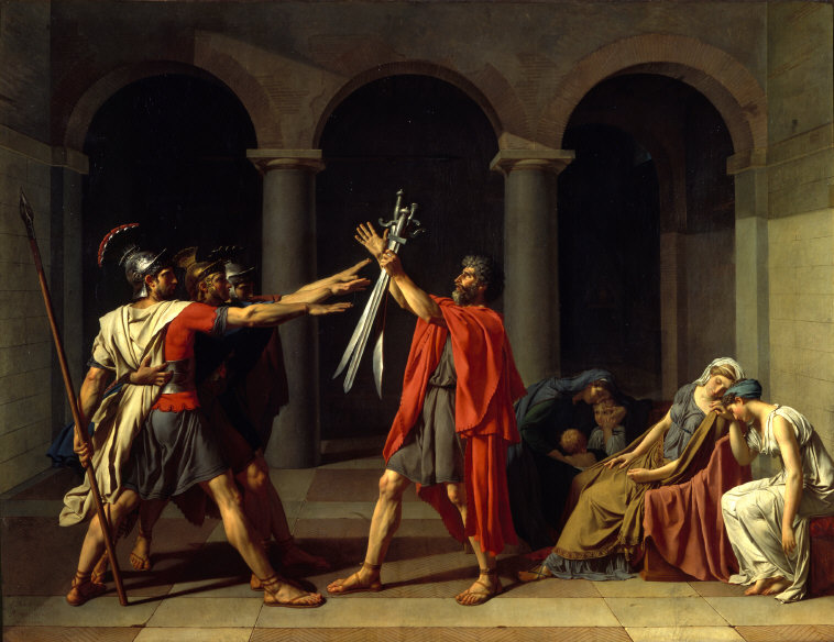 Jacques-Louis David: Oath of the Horatii, oil on canvas, 3.30×4.25 m, 1784 (Paris, Musée du Louvre); Photo credit: Scala/Art Resources NY