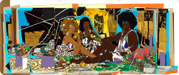 "Mickalene Thomas: Le déjeuner sur l'herbe: Les trois femmes noires, rhinestones, acrylic, and enamel on wood panel, 3.05 × 7.32 m, 2010; image courtesy of the artist, Lehmann Maupin, New York and Hong Kong, and Artists Rights Society (ARS), New York"" title=""Mickalene Thomas: Le déjeuner sur l'herbe: Les trois femmes noires, rhinestones, acrylic, and enamel on wood panel, 3.05 × 7.32 m, 2010; image courtesy of the artist, Lehmann Maupin, New York and Hong Kong, and Artists Rights Society (ARS), New York"