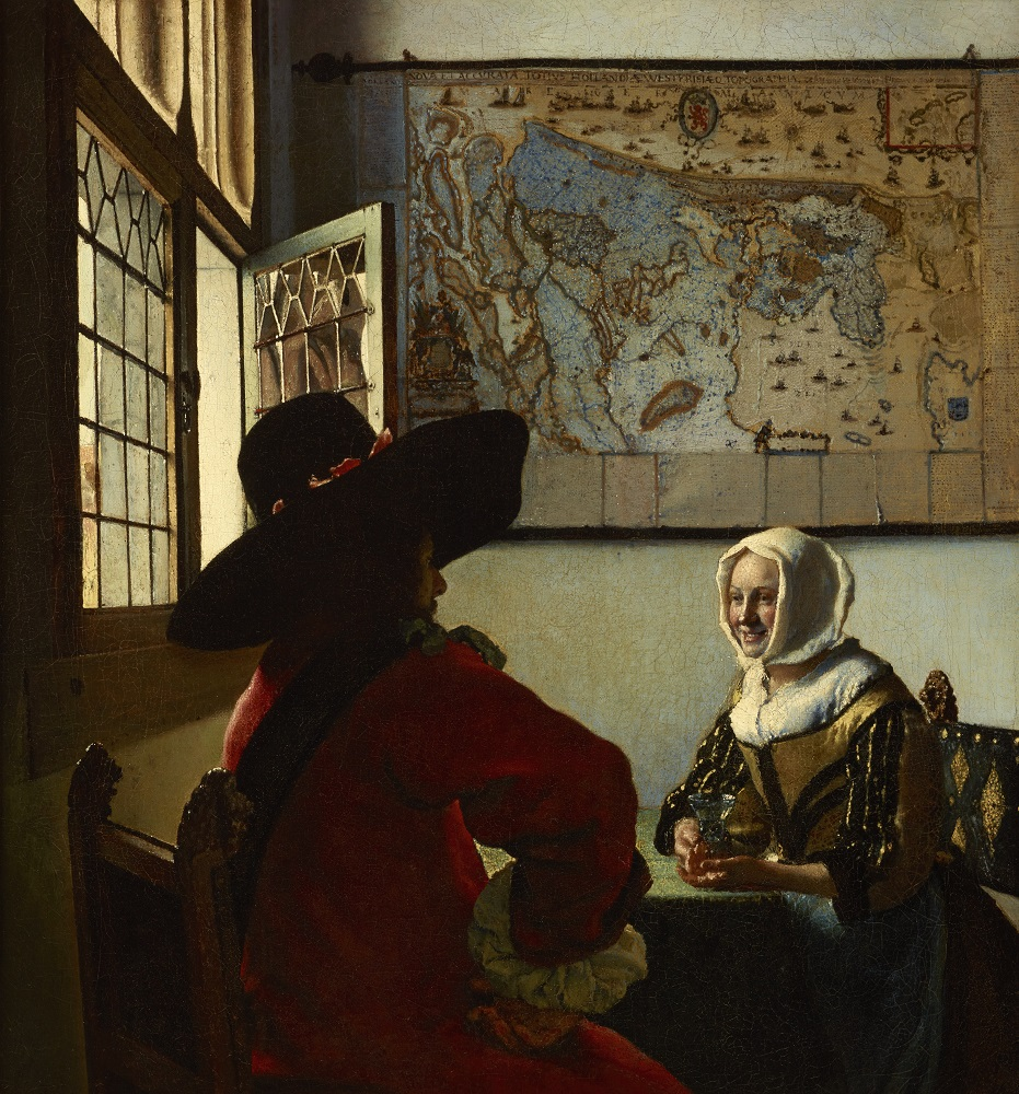Johannes Vermeer: Officer and Laughing Girl, oil on canvas, 19 7/8 x 18 1/8 in. (50.5 x 46 cm), ca. 1657, (New York, The Frick Collection, Henry Clay Frick Bequest, Accession ID: 1911.1.127), image copyright The Frick Collection