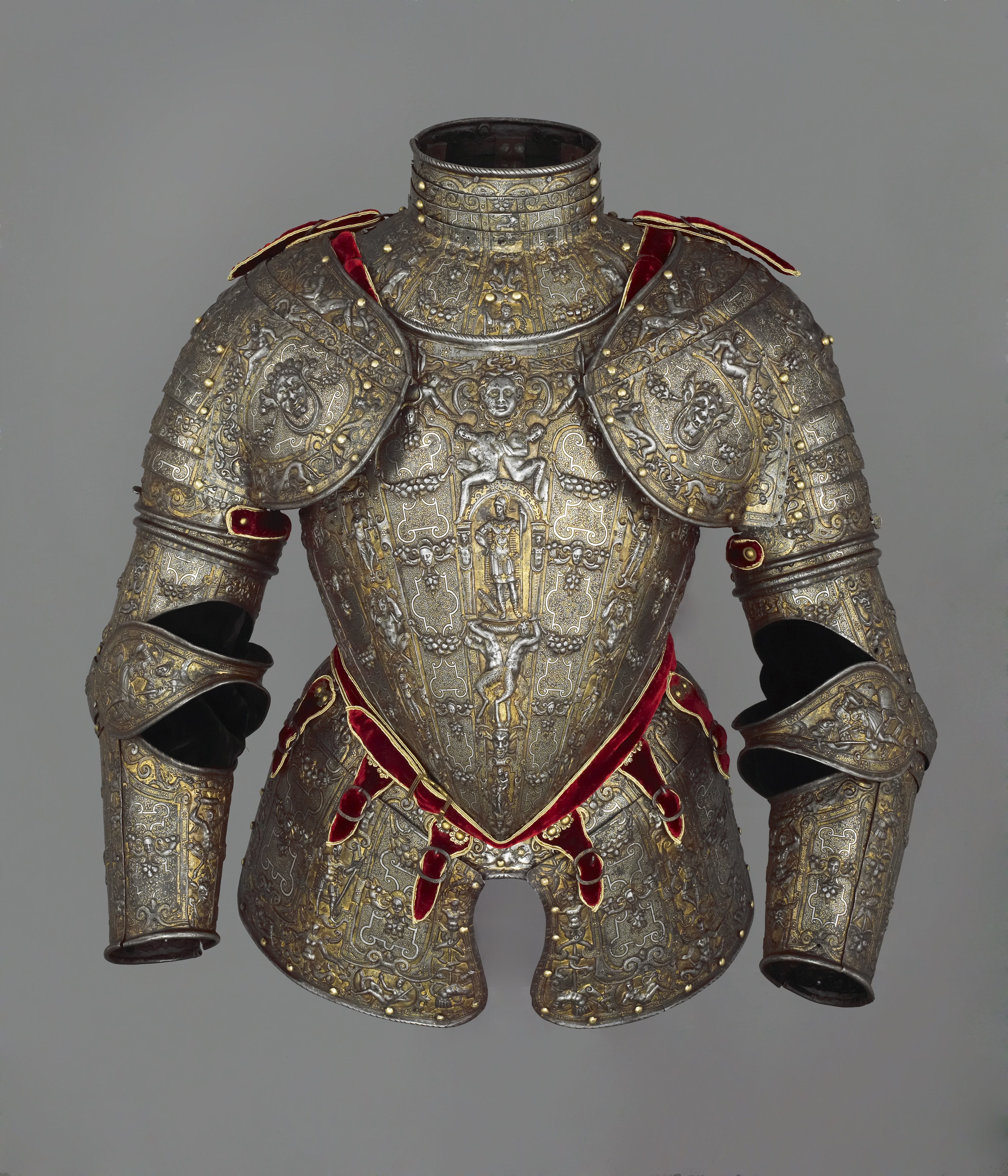 Lucio Marliani: Partial armour, Very low-carbon steel, gold, silver, copper alloy, leather, gold braid and velvet, embossed, gilt, blackened, and damascened, c. 1570-90 (London: Wallace Collection, Object No. A51); image courtesy of the Wallace Collection