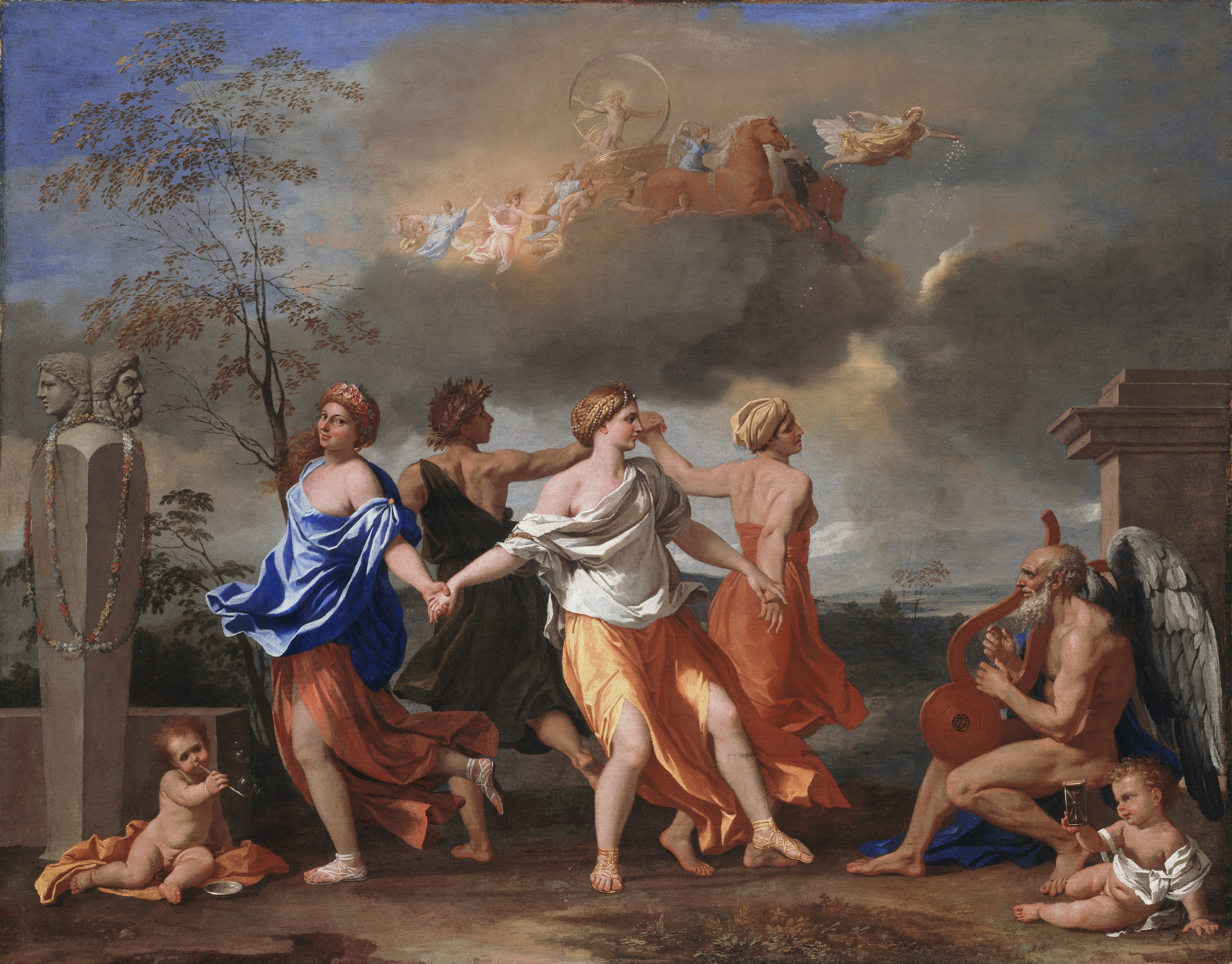 Nicolas Poussin: Dance to the Music of Time, oil on canvas, 82.5 x 104 cm, c. 1634-6, (London: The Wallace Collection, Object No. P108), image courtesy of The Wallace Collection