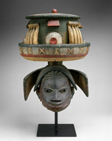 Yoruba gelede mask, wood, pigment, h. 540 mm, 20th century (New York, Metropolitan Museum of Art, Purchase, Anonymous Gift, in memory of Barry D. Maurer, and Gulton Foundation Inc. Gift, 1994, Accession ID: 1994.328a-c); image © The Metropolitan Museum of Art