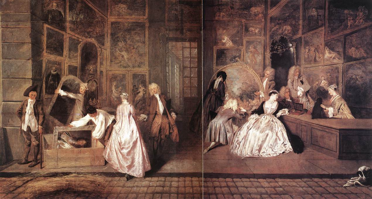 Antoine Watteau: L'Enseigne de Gersaint, oil on canvas, 1.63x3.08 m, 1721 (Berlin, Charlottenburg Palace); Public Domain