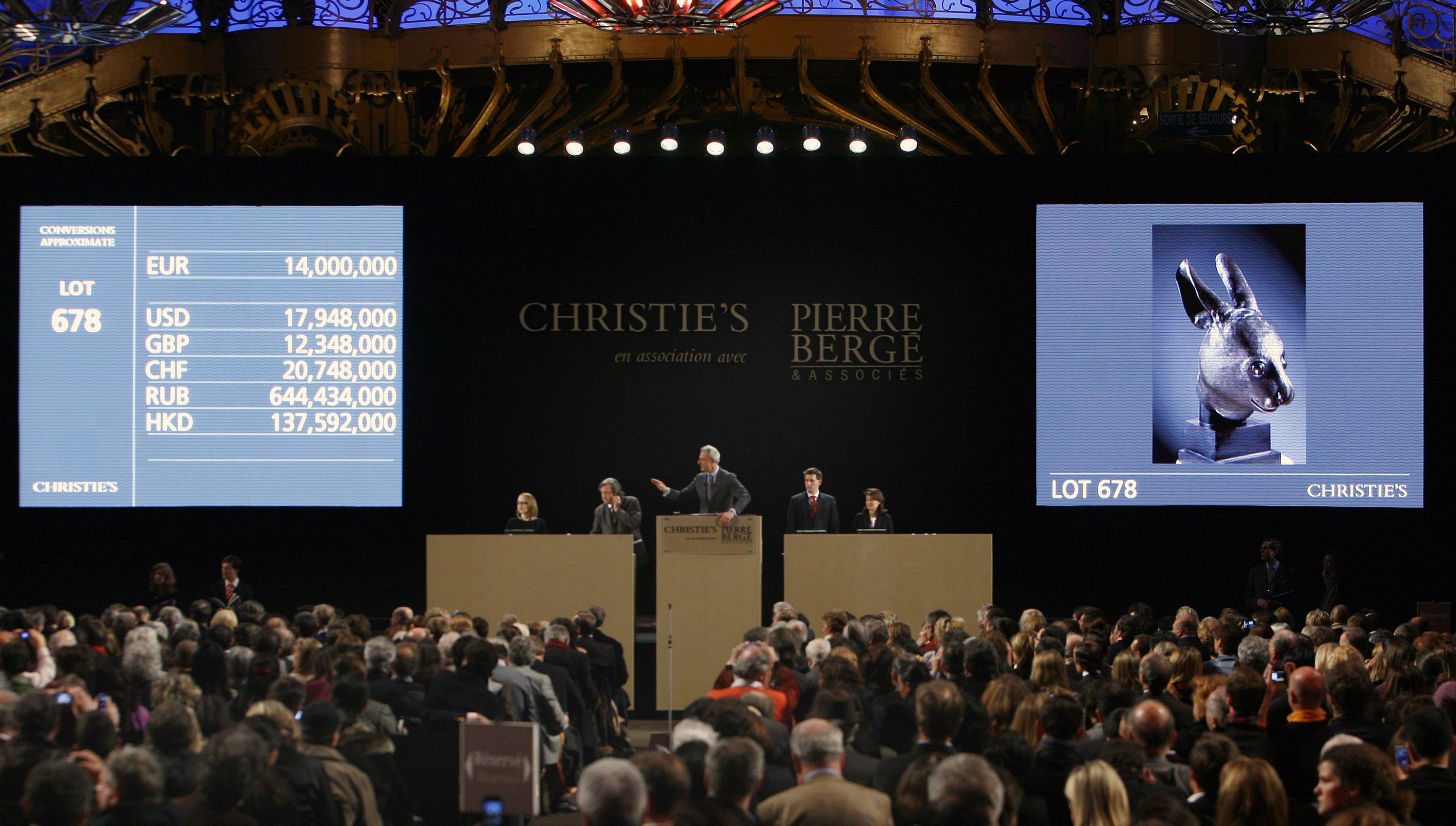 Christie's sale of the collection of Yves Saint Laurent and Pierre Bergéat the Grand Palais in Paris, Feb. 25, 2009; photo credit: AP Photo/Jacques Brinon