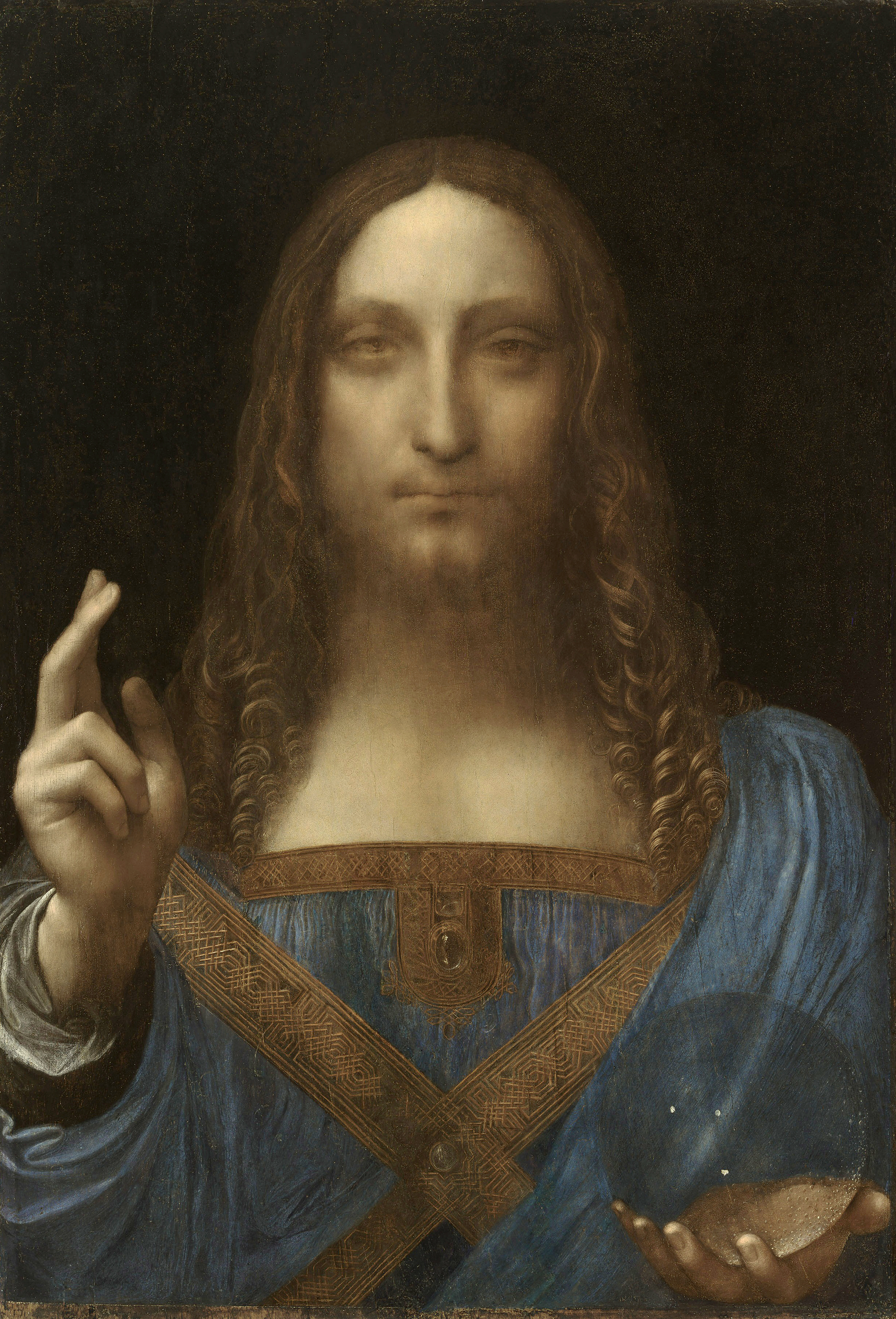 Leonardo da Vinci: Salvator Mundi, oil on walnut, 656 x 454 mm, c. 1500; public domain