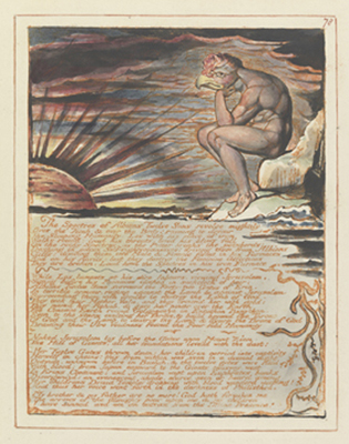William Blake: Jerusalem, plate 78 (Copy E), relief with pen and ink and watercolor on wove paper, sheet: 343×264 mm, c. 1804–1820 (Yale Center for British Art, Paul Mellon Collection)