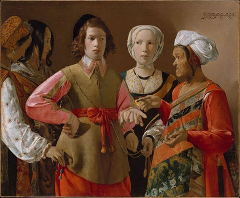 Georges de La Tour: Fortune-teller, oil on canvas, 1.02×1.235 m, probably 1630s (New York, Metropolitan Museum of Art, Rogers Fund, 1960, Accession ID: 60.30); image © The Metropolitan Museum of Art