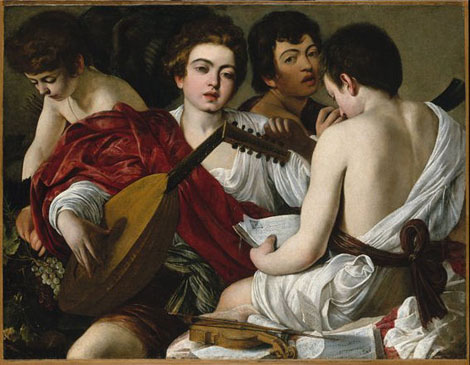 Caravaggio: Concert of Youths (or The Musicians), oil on canvas, 0.921×1.184 m, c. 1595 (New York, Metropolitan Museum of Art, Rogers Fund, 1952, Accession ID: 52.81); image © The Metropolitan Museum of Art