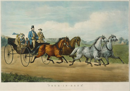 Currier & Ives: Four-in-Hand, lithograph in colours, sheet: 567×797 mm, image: 446×708 mm, 1861 (New York, Metropolitan Museum of Art, Bequest of Adele S. Colgate, 1962, Accession ID: 63.550.3); image © The Metropolitan Museum of Art