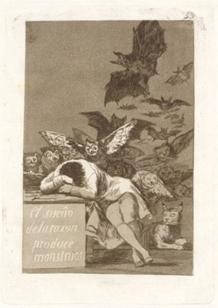 Francisco de Goya: The Sleep of Reason Produces Monsters, etching, aquatint, drypoint and burin, 215×150 mm), 1799 (New York, Metropolitan Museum of Art, Gift of M. Knoedler & Co, 1918, Accession ID:18.64(43)); image © The Metropolitan Museum of Art