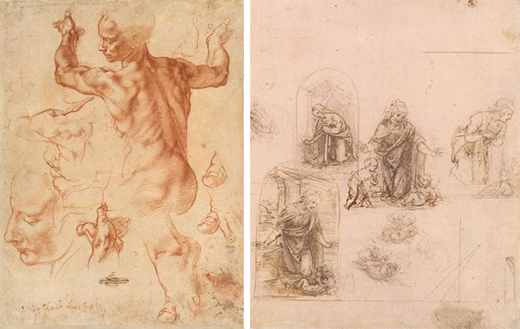 Left: Michelangelo: Studies for the Libyan Sibyl, red chalk, 289×214 mm, 1508–12 (New York, Metropolitan Museum of Art, Purchase, Joseph Pulitzer Bequest, 1924, Accession ID: 24.197.2); image © The Metropolitan Museum of Art. Right: Leonardo da Vinci: Designs for a Nativity or Adoration of the Christ Child, perspectival projection (recto), metalpoint partly reworked with pen and dark brown ink on pink prepared paper and lines ruled with metalpoint, 193×162 mm, 1480–85 (New York, Metropolitan Museum of Art, Rogers Fund, 1917, Accession ID: 17.142.1); image © The Metropolitan Museum of Art