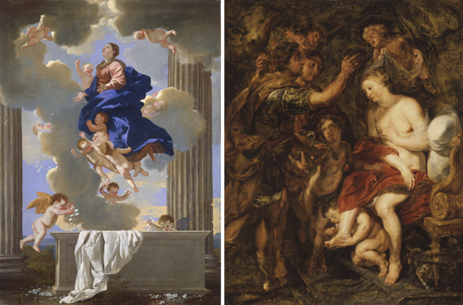 Left: Nicolas Poussin: The Assumption of the Virgin, oil on canvas, c. 1630/1632 (Washington, DC, National Gallery of Art, Ailsa Mellon Bruce Fund); image courtesy of the National Gallery of Art. Right: Pieter Paul Rubens: The Crowning of Roxana, oil on panel (Los Angeles County Museum of Art, Gift of Varya and Hans Cohn); image courtesy of LACMA