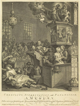 William Hogarth: Credulity, Superstition, and Fanaticism, etching and engraving, 1762; image courtesy of the National Gallery of Art, Washington, DC
