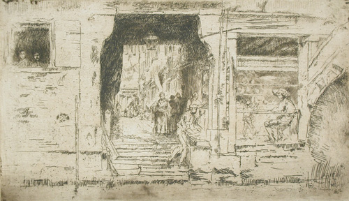 James Abbott McNeill Whistler: Fish Shop, Venice, etching and drypoint, 1880 (Los Angeles County Museum of Art, The Julius L. and Anita Zelman Collection); image © Museum Associates/LACMA