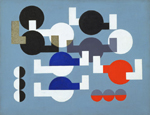 Sophie Taeuber-Arp: Composition of Circles and Overlapping Angles, oil on canvas, 495×641             mm, 1930 (New York, Museum of Modern Art); © 2007 Artists Rights Society (ARS), New York/VG Bild-Kunst, Bonn, photo © Museum of Modern Art/Licensed             by SCALA / Art Resource, NY