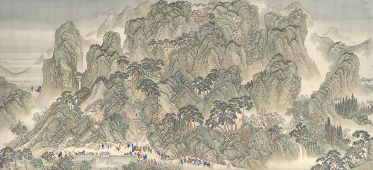 Wang Hui and assistants: The Kangxi Emperor's Southern Inspection Tour, Scroll Three: Ji'nan to Mount Tai, handscroll: ink and color on silk, 26 3/4 in. x 45 ft. 8 3/4 in. (67.9 x 1393.8 cm), 1698, China (New York, Metropolitan Museum of Art)