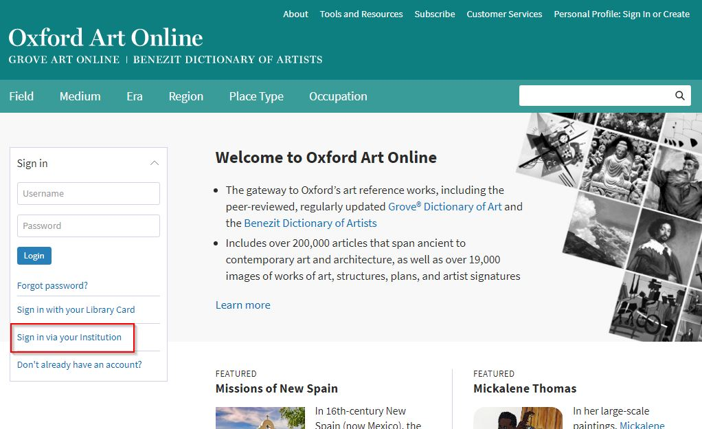OAO homepage institution