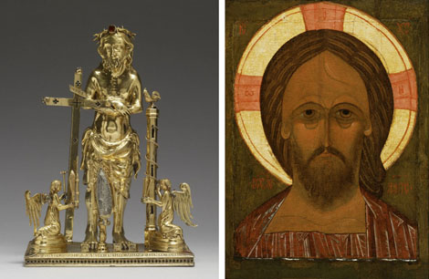 Left: Reliquary with the Man of Sorrows, Bohemian, 1347–9, The Walters Art Museum. Right: Christ Pantokrator, Russian, 16th century, The Walters Art Museum
