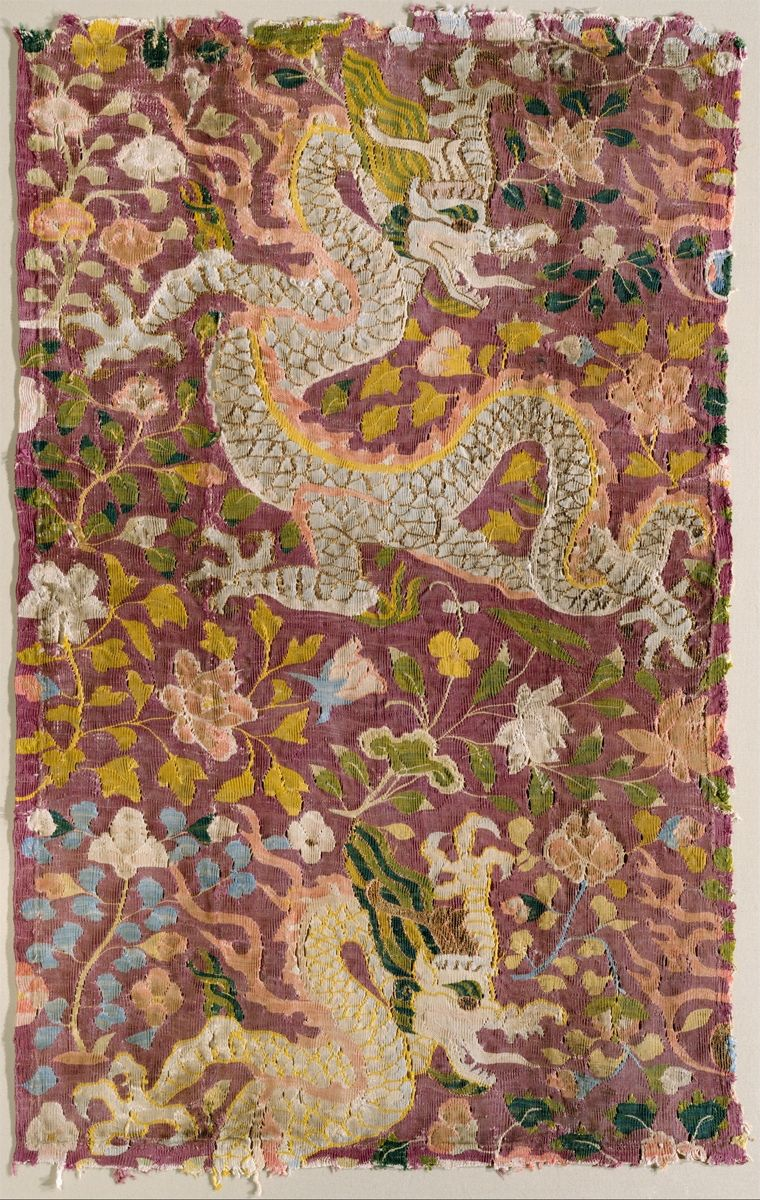 Tapestry with Dragons and Flowers, silk tapestry, 21 x 13 in. (53.3 x 33 cm), 11th–12th century, Eastern Central Asia (New York, Metropolitan Museum of Art)