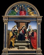 Raphael: Pala Colonna (or Virgin and Child Enthroned with Saints), oil and gold on wood, c. 1504 (New York,             Metropolitan Museum of Art, Gift of J. Pierpont Morgan, 1916, Accession ID: 16.30ab); image © The Metropolitan Museum of Art