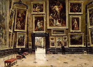 A painting of a museum with many paintings on the wall