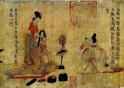 A scroll scene showing gender in Chinese art
